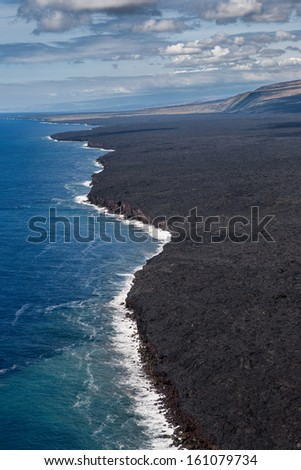 Hawaii Volcanoes National Park Coast, Aerial View - stock photo