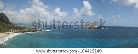 Hawaiian Coastline Panorama - stock photo