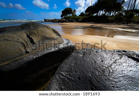 Hawaiian Glyph on rock on Kauai Hawaii. More with keyword Series001H