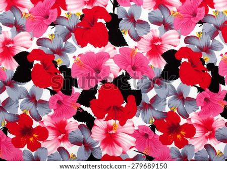 Hawaiian hibiscus fabric background - stock photo