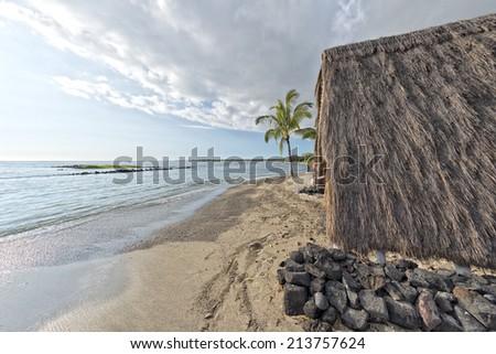hawaiian hut on the beach on big island - stock photo