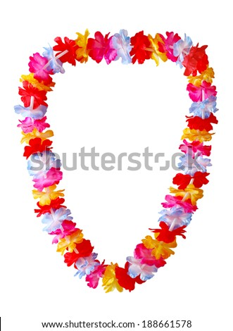 Hawaiian lei necklace isolated on white background - stock photo