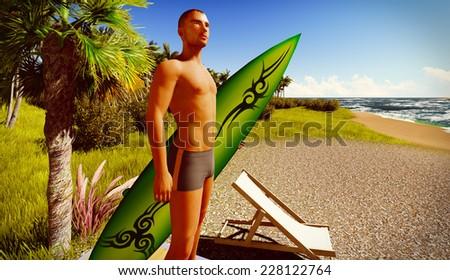 Hawaiian paradise with male surfer - stock photo