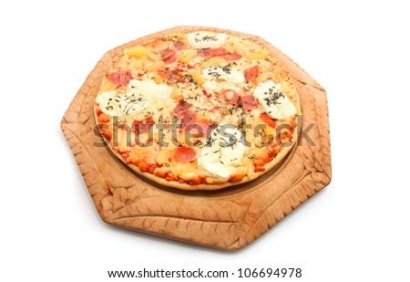 hawaiian pizza isolated on white - stock photo