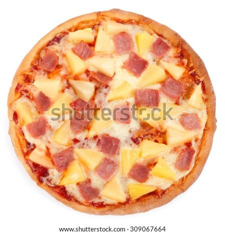 Hawaiian pizza isolated on white background. - stock photo