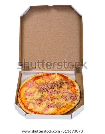 Hawaiian Pizza on a Thin Pastry with Ham, Meat and Pineapple. Street Fast Food. Studio Photo