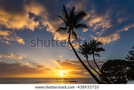 Hawaiian sunrise from Kapaa on the island of Kauai - stock photo