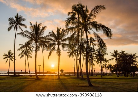 Hawaiian sunset, Honolulu, Oahu - stock photo