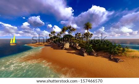 Hawaiian sunset in tropical paradise - stock photo
