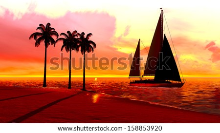 Hawaiian sunset in tropical paradise with yacht - stock photo