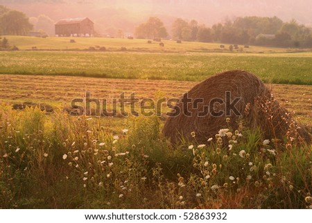Hay Bale With Farm House In The Distance - stock photo