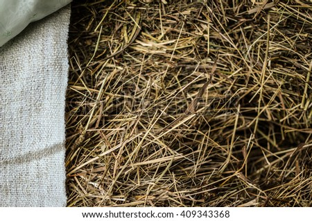 Hay baled, burlap. Country style. Rustic. Closeup.