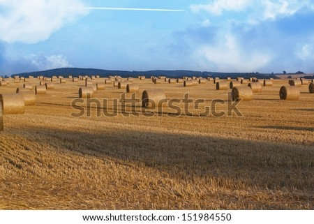 Hay bales and blue sky