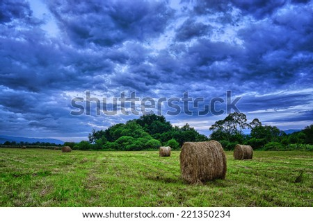 Hay bales in a storm sky. - stock photo