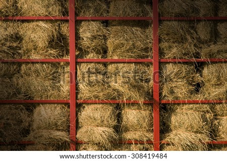 Hay bales piled within a cart with red metal bars lit diagonally - stock photo
