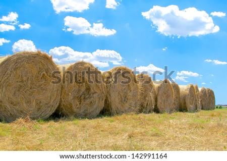 Hay bales, Roman Countryside, Italy - stock photo