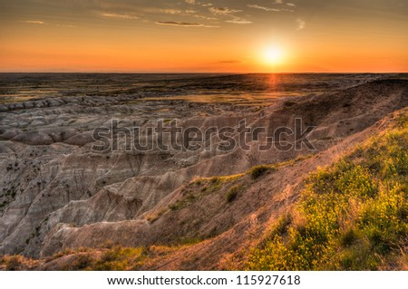 Hay Butte Overlook Sunset - Badlands National Park - South Dakota - stock photo
