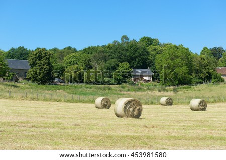 Hay roll on a hill in France - stock photo