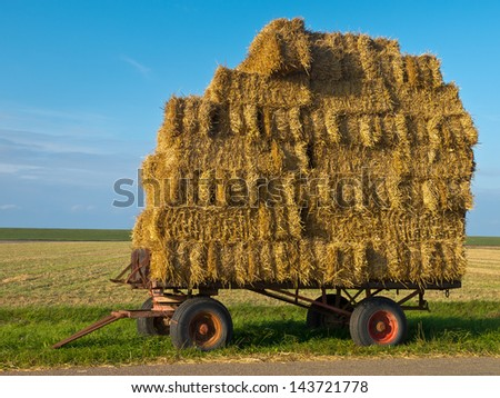 Hay Wagons Along a Road in Sunny Countryside waiting for Transport - stock photo