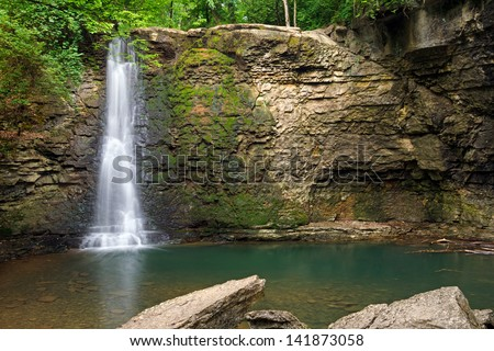 Hayden Falls, though secluded and unknown to many locals, is a waterfall located within the Columbus, Ohio metro area (Dublin). - stock photo