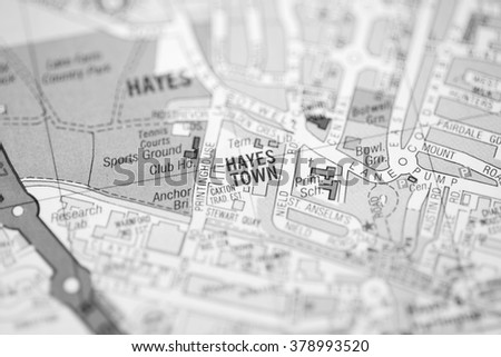 Hayes Town. London, UK map.
