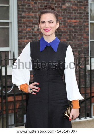 Hayley Atwell arriving for the launch party for the Fashion Rules exhibition, Kensington Palace, London. 04/07/2013