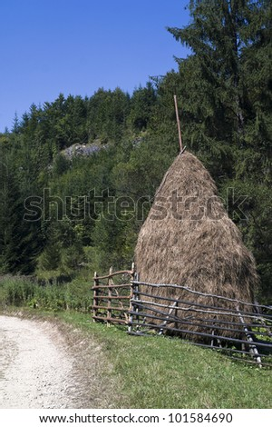 Haystack near the country road
