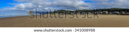 Haystack Rock in the Cannon Beach on the Pacific Ocean, Oregon Coast, USA - stock photo