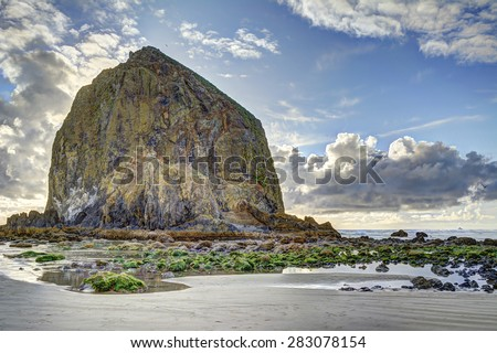 Haystack Rock with evening back lighting at low tide, Cannon Beach, Oregon, with rocks in foreground covered with seaweed and invertebrates. HDR fusion image. Edited out 3 small objects.  - stock photo