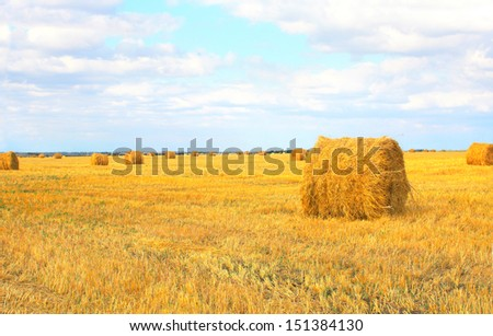 Haystacks on a background of the blue sky