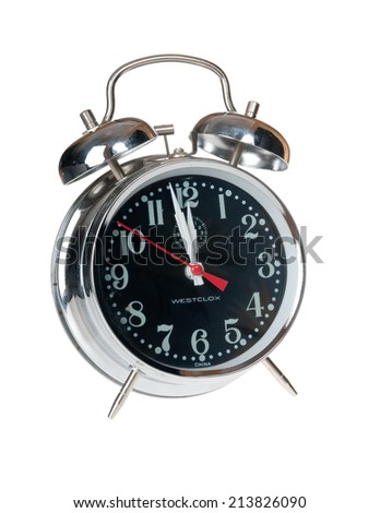 Hayward, CA - August 21, 2014: Westclox alarm clock with bells