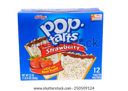 Hayward, CA - February 3, 2015: packet of Kellog's POP tarts frosted strawberry toaster pastries -illustrative editorial - stock photo