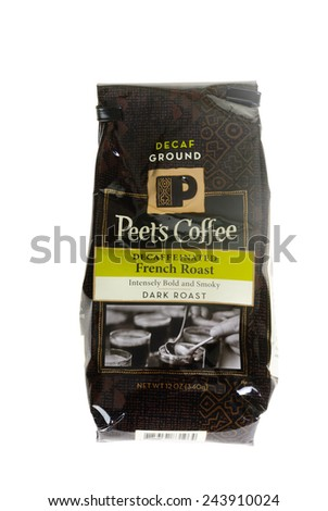 Hayward, CA - January 11, 2015: 12 Oz packet of Peets Decaffeinated French Roast coffee - stock photo