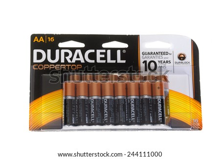 "Hayward, CA - January 5, 2015: Packet with 16 Duracell CopperTop ""AA"" cell batteries"