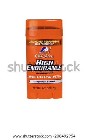 Hayward, CA - July 31, 2014: Old Spice High Endurance roll on deodorant stick