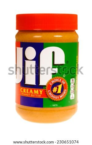 Hayward, CA - November 9, 2014: Jar of JIF brand Creamy peanut butter - stock photo