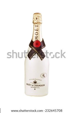 Hayward, CA - November 23, 2014: 750mL bottle of  Moet Chandon Champagne - stock photo