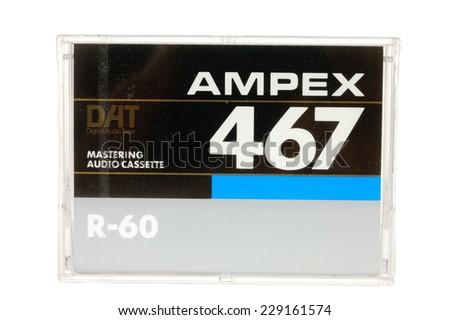 Hayward, CA - 27 October, 2014: Cassette of AMPEX467 DAT Mastering audio tape - stock photo