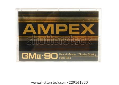 Hayward, CA - 27 October, 2014: Cassette of AMPEX Grand Master II audio tape - stock photo