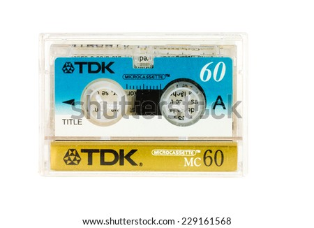 Hayward, CA - 27 October, 2014: Microcassette of TDK 60 minute audio tape - stock photo