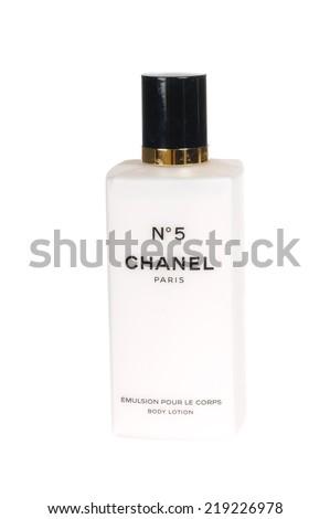 Hayward, CA - September 16, 2014: Chanel No5 Body Lotion Perfume - stock photo