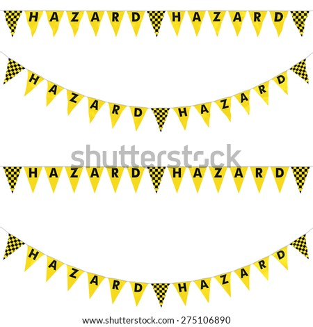 HAZARD Bunting with Yellow and Black Checkers Collection: 3D reflection and flat orthographic textures - stock photo