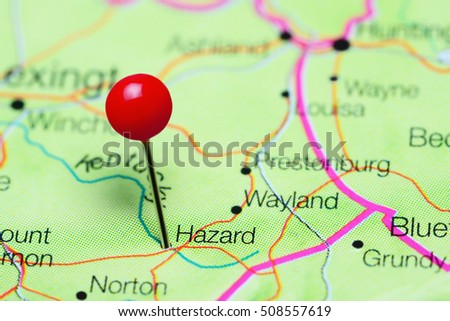 Hazard Pinned On Map Kentucky Usa Stock Photo 508557619 Shutterstock