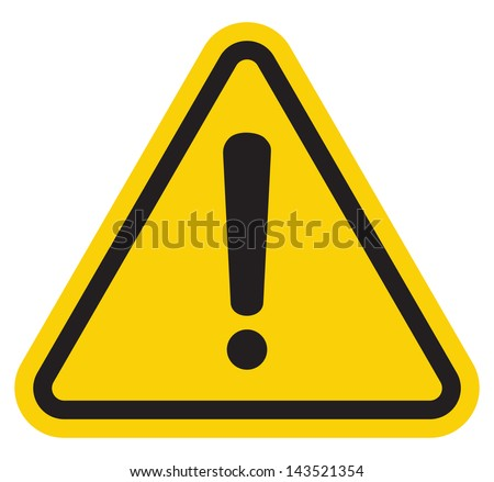 Hazard warning attention sign with exclamation mark symbol - stock photo
