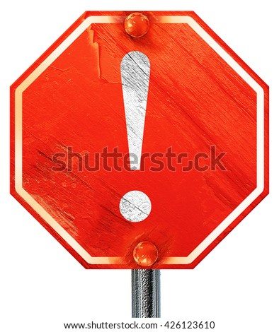 Hazard warning sign, 3D rendering, a red stop sign - stock photo