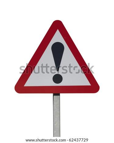 hazard warning sign on white background - stock photo
