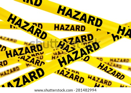 Hazard Yellow Tape Strips On A White Background Stock Photo