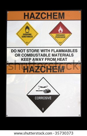 hazchem sign for hazardous substance storage area with corrosives, and oxidising agents - stock photo