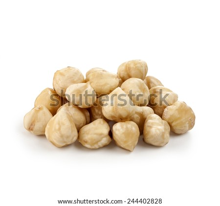 Hazel nut isolated on white background with clipping path - stock photo