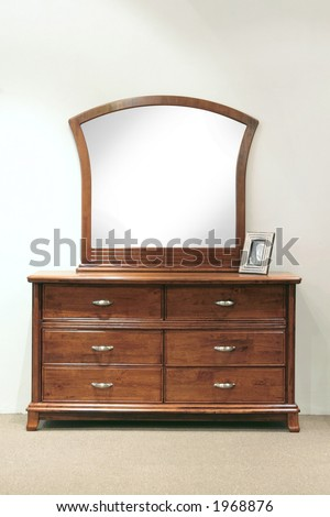Hazel stained grained rubber wood mirror dresser with drawers for the bedroom